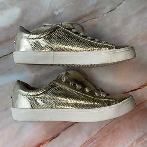 KURT GEIGER | Carvela gold lace up trainers